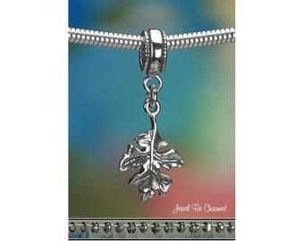 Sterling Silver Oak Leaf Charm or European Style Charm Bracelet .925