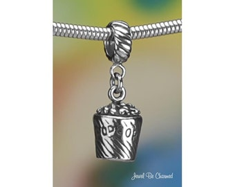 Sterling Silver Bucket of Popcorn Charm or European Charm Bracelet 925