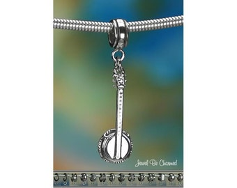 Sterling Silver Banjo Charm or European Style Charm Bracelet .925