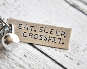 Crossfit Gift - Eat Sleep Crossfit - Kettlebell Necklace - Crossfit Jewelry - Fitness Jewelry - Gift for Her - Fitness Gift - Hand Stamped
