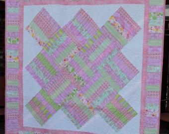 Pink & Green Baby, Little Girls Quilt