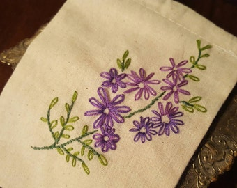 Hand Embroidered Floral Muslin Bag 4x6 in