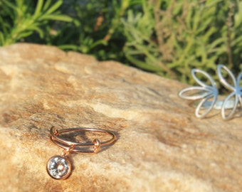 Sterling Silver, Rose Gold Plated Adjustable Charm Ring with rose gold CZ dangle size 6 - 8, stacking ring Sterling silver, dainty gold ring
