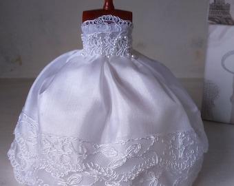 Dollhouse Miniature White Wedding Dress.  OOAK!