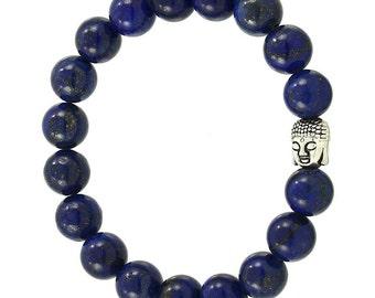 Blue Lapis Buddha Bead Bracelet