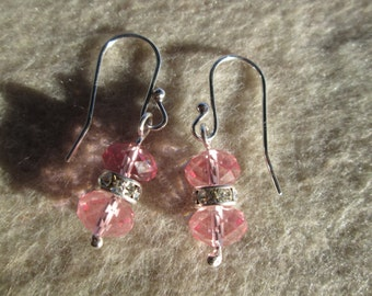 Earrings Pink Swarovksi Crystals and Sterling Silver