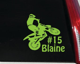 Motocross Car Decal - Dirtbike Personalized Outdoor Vinyl Sticker