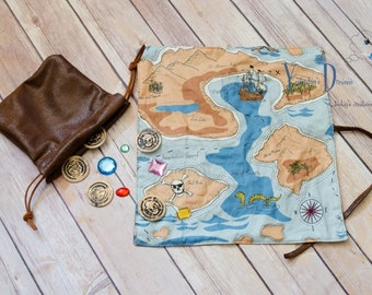 Pirate Treasure Map with Drawstring Bag of Coins/Gems. Tan colorway