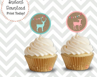 Buck or Doe Cupcake Toppers Instant Download DIY Printable
