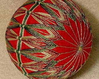 """Japanese Temari Ball  """"Golden Merry-Go-Round"""""""