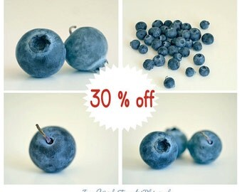 Blueberry prints, blue kitchen art, blueberry pictures 8x10, kitchen print set of 4 fruit photographs, cafe wall art, modern kitchen decor