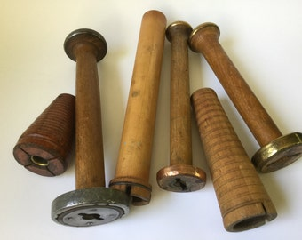 Vintage collection old wooden wood spools lot