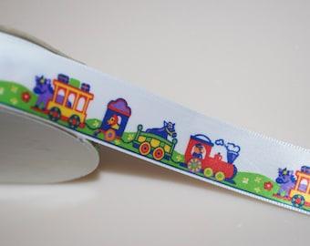 "Animal Train Ribbon 7/8"" Wide 2 Yards"