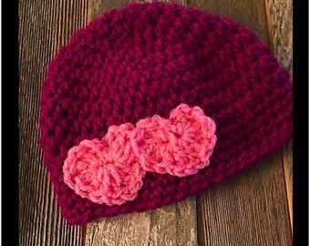 Hand crocheted burgundy hat