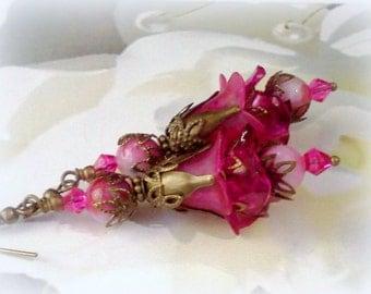 Lucite Earrings, Flower Earrings, Bridal Earrings, Victorian Earrings, Hand Painted Earrings, Handmade Earrings, Wedding Jewelry, Fuchsia