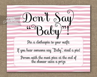 Pink Don't Say Baby Game - Pink Printable Baby Shower Games - Pink & White Stripe Baby Shower - DSP