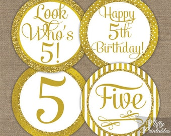 5th Birthday Cupcake Toppers - Gold 5th Birthday Toppers - Printable 5 Years Old Birthday Party Decorations - 5th Birthday Favor Tags GLD