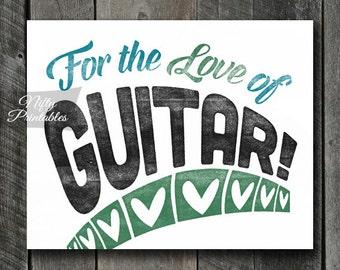 Guitar Print - INSTANT DOWNLOAD Guitar Art - Vintage Guitar Poster - Guitar Wall Art - Guitar Gifts - Retro Guitar Music Decor