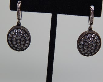 Gorgeous Accent Diamond Drop  Earrings 925 Sterling Silver  Anniversary Gift Birthday Present,