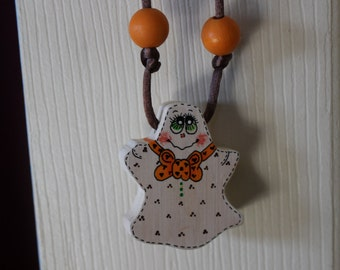 Hand painted wood Ghost Necklace
