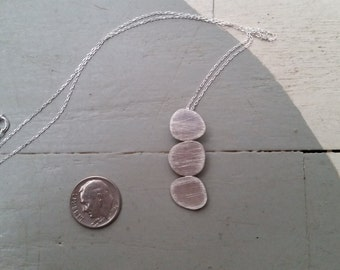 Sterling Silver pendant, necklace, Three oraganic round shaped circles on sterling silevernecklace