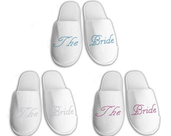 The Bride Personalised wedding Slippers, Bridal party gifts, Spa Slippers, Personalized bridal slippers, Bridesmaid Gifts, hen slippers