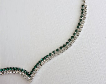 Vintage Green Rhinestone Necklace, Emerald Green Rhinestone Crystal Choker, Clear Rhinestone Crystal Necklace, Costume Jewelry