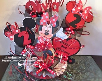 Minnie Mouse RED Birthday Cake Topper Personalized