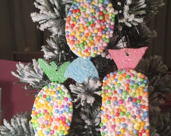 Set of 3 candy land ornaments.