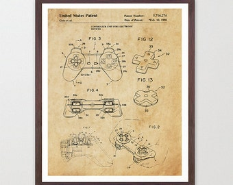 Playstation Patent Poster - Video Game Art - Video Game Poster - Playstation - Video Game ...