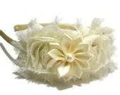 Ivory Headband, Satin Headband, Girls Headband, Satin Hard Headband, flower headband, hard headband,