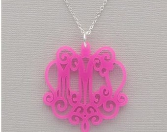 Monogrammed Heartstrings Laura Acrylic Necklace