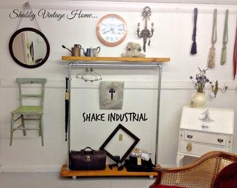 Mobile Clothes Rail Bespoke Industrial Wardrobe Vintage Style Shop Display