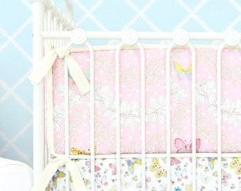 15% OFF SALE- Brooklyn's Butterfly Crib Bumpers | Pink and Ivory baby bumpers
