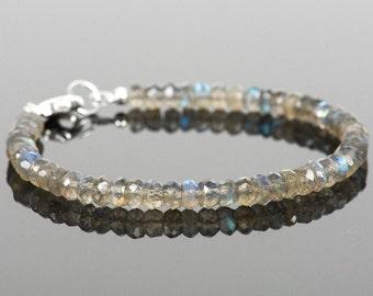 Labradorite Bracelet, Delicate Gemstone Bracelet, Faceted Labradorite Gemstones, Gemstone Bracelet, Handmade Jewelry, Gemstone Jewelry
