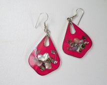 Pink Shield Dangle Earrings, Abalone Inlay Flower, Alpaca Nickel German Silver Mexico, Southwestern Country Western Wear Boho, ID 256977598