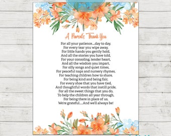 Teacher Appreciation Print - End of Year Teachers Gift - Childcare Teachers Gift - Nursery Teachers Gift - A Parents Thank You!