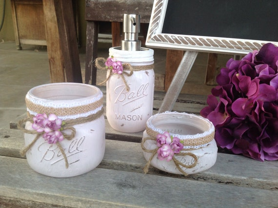 Set of three mason jars shabby chic bathroom decor painted for Bathroom decor mason jars