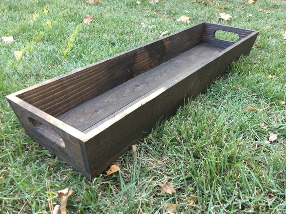 Long Dark Wood Tray | Table Centerpiece Tray - Dark Stain
