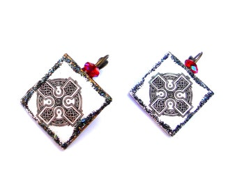 Earrings ancient Celtic Cross pentacle Viking runes on wood and swarovski tops Gothic