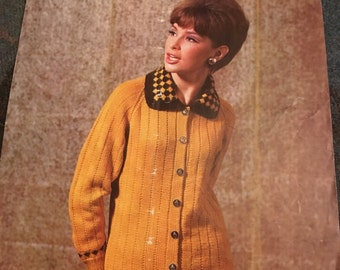 Vintage 1960s Patons Knitting Pattern- Women's Cardigan with Collar- GC