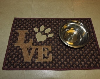 "Something for Fido - Quilted Mug Rug or Placemat for your Dog...or for yourself     20.5"" x 13"""