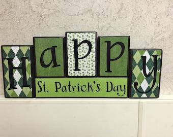 St. Patrick's Day blocks - Happy St. Patrick's Day black