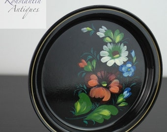 Vintage Russian metal tray plate hand paint enamel flowers USSR great gift