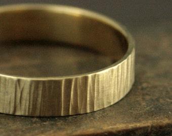 Men's Rustic Ring - Men's Gold Band - Gold Bark Ring - Gold Bark Band - Bark Hammered Ring - Rustic Wedding Band - 5mm Bark Ring