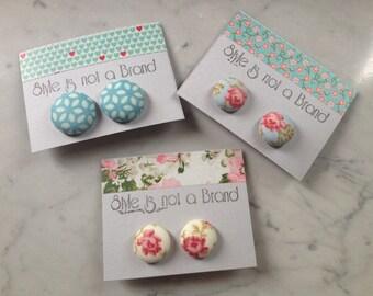 covered button earrings --- orecchini bottone ricoperti in stoffa flowers // stripes // squares