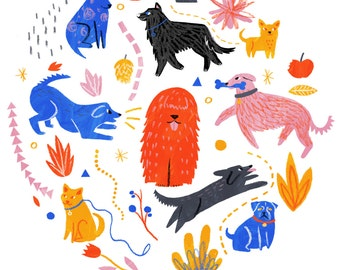 SALE - Dog Park art print - A5, A4 or A3