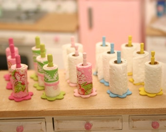 Dollhouse Miniature paper towel, wood holder,  shabby chic, 1:12, 5 colors, dollhouse accessories, kitchen accessories