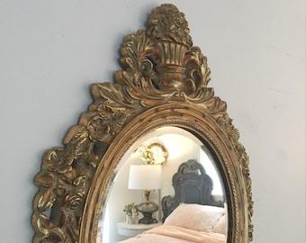 Gold Vintage Mirror Round Mirror Convex Wall Mirror Shabby Chic Nursery Mirror Antique Mirror