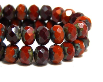 8x6mm Red Orange Mix Czech Beads, Orange Beads, Earthy Beads, Red Orange Beads, Red Rondelles, Orange Rondelles, Mixed Beads, T-75D
